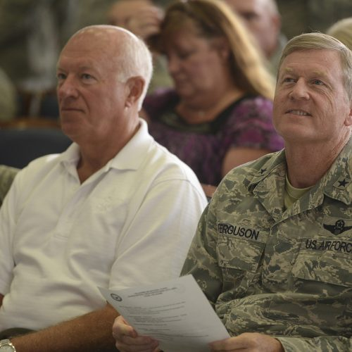 Former Director of the Air National Guard, Lieutenant General Harry M. (Bud) Wyatt III (Ret.), and Oklahoma Assistant Adjutant General Air, Brigadier General Greg Ferguson,  at a 138th Fighter Wing Commanders Call, Tulsa Air National Guard base, June 8, 2014.   (U.S. National Guard photo by Master Sgt.  Mark A. Moore/Released)