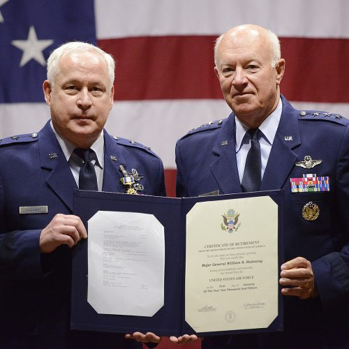 Maj. Gen William S. Hadaway III, Director of Logistics, National Guard Bureau, receives his certificate of retirement from former Director of the Air National Guard Lt. Gen. Harry M. Wyatt III (ret.), April 11, at the Brig. Gen. Joseph W. Turner complex, Tulsa Air National Guard Base, Okla.  Both Wyatt and Hadaway were former wing commanders at the 138th Fighter Wing in Tulsa.  (U.S. National Guard photo by Master Sgt. Mark A. Moore/Released)