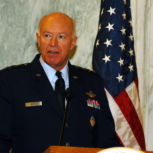 "Lt. Gen. Harry ""Bud"" Wyatt, director of the Air National Guard, speaks during a birthday ceremony commemorating the 374th birthday of the National Guard, on Capitol Hill, Dec. 9, 2010. The National Guard Association of the United States hosted the event which was held inside the Rayburn House Office Building. (U.S. Army photo by Sgt. Darron Salzer, National Guard Bureau)"